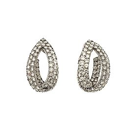 66119 Estate 20ct Inside Out Diamond 18k White Gold 2 Row Oval Hoop Earrings