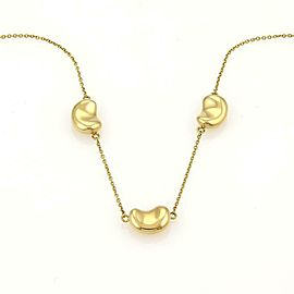 Tiffany & Co. Peretti 3 Bean Charms 18k Yellow Gold Necklace