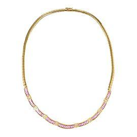 Estate Diamond Pink Sapphire 18k Yellow Gold Collar Necklace