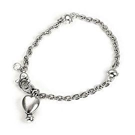 Tiffany & Co. Vintage Sterling Silver Heart Charm Chain Bracelet