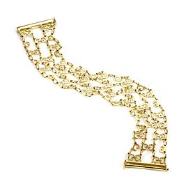 "Gucci 18k Yellow Gold 4 Strand G Logo Chain Link Wide Bracelet 6.5""L"