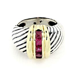 David Yurman Amethyst 925 Silver 14k Yellow Gold Cable Dome Band Ring