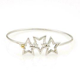 Tiffany & Co Vintage 925 Silver 18k Gold 3 Stars Hook Bangle Bracelet