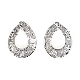 Gorgeous 9 Carats Baguette Diamond Platinum Loop Style Post Clip Earrings
