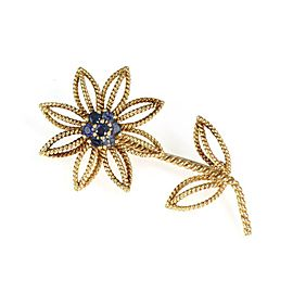 Tiffany & Co. Vintage Sapphire 18k Yellow Gold Twisted Wire Floral Brooch