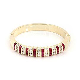 Estate 10ct Diamond & Ruby 18k Yellow Gold Bangle Bracelet