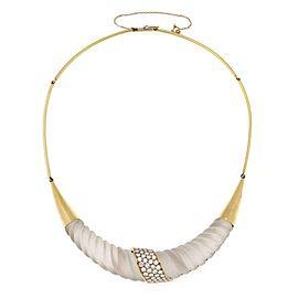 Estate 2.75ct Diamond Shrimp Design Frosted Crystal 18k Gold Fancy Necklace