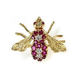 Herbert Rosenthal Diamond & Ruby 18k Yellow Gold Bee Tie Tack