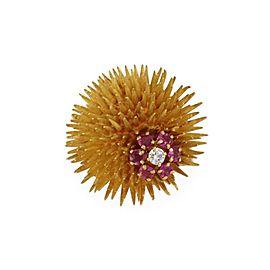 Tiffany & Co. Vintage Ruby Diamonds 18k Gold Sea Urchin Flower Brooch