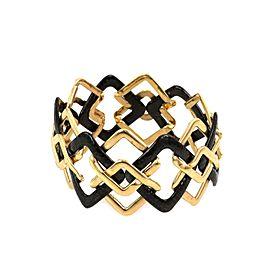 Valentin Magro 18k Gold Hammered Wide Geometric Link Bangle Bracelet