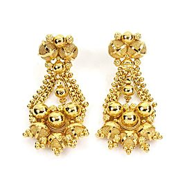 21k Yellow Gold Etruscan Bead Dangle Earrings 18k Gold Backs