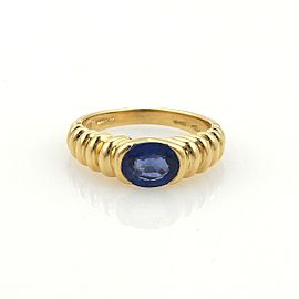 Bulgari Bvlgari 1ct Sapphire & 18k Yellow Gold Ribbed Design Ring Size 5.25