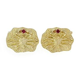 Henry Dunay Ruby 18k Yellow Gold Zodiac Cancer Crab Chain Cufflinks