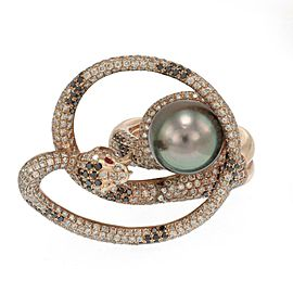 Large 5ct Diamond 18k Rose Gold Tahitian Pearl Coiled Snake Ring Size 10