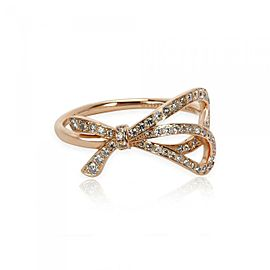 Tiffany & Co. Diamond 18k Rose Gold Ribbon Bow Ring Size 4.75