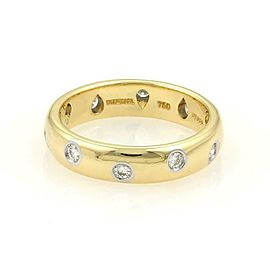 Tiffany & Co. Etoile Diamond 18k Gold Platinum 4.5mm Band Ring Size 7