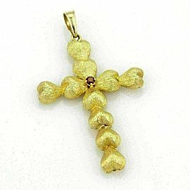 Estate 18K Yellow Gold & Garnet Textured Heart Design Cross Pendant