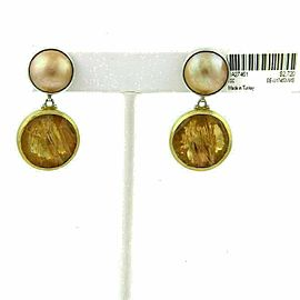 Gurhan Red Agate Mabe Pearls Sterling Silver & 24k Overlay Gold Earrings