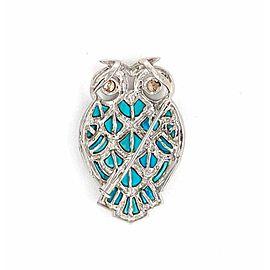 Champagne Diamond Turquoise 18k White Gold Owl Pendant Brooch