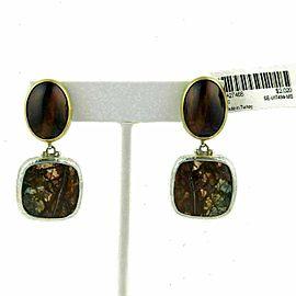 Gurhan Tiger's Eye & Jasper Sterling 24k Overlay Gold Dangle Earrings