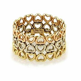 Tiffany & Co. Picasso Crown of Hearts 18k Tricolor Gold 3 Rows Band Ring