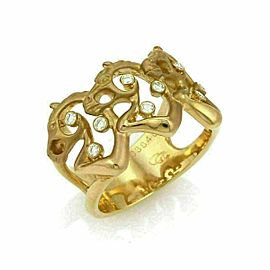 Carrera Y Carrera Diamond 18k Yellow Gold 3 Horse Open Wide Band Ring
