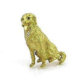 Diamond & Emerald 18k Yellow Gold Large Collie Dog Pendant Brooch
