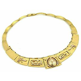 Vintage 18k & 14k Gold Scarab Hieroglyphic Egyptian Graduated Panel Necklace