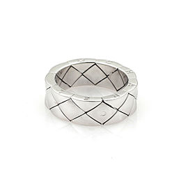 Chanel Matelasse 18k White Gold 7mm Flex Wide Band Ring