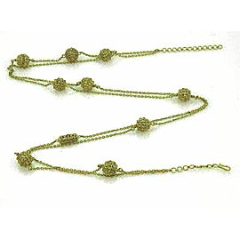 Rose Cut 4.50ct Champagne Diamonds 18k Yellow Gold Ball Station Necklace