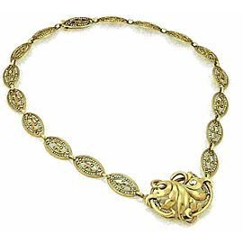 Antique Seed Pearls 18k Yellow Gold Floral Pendant Fancy Link Necklace
