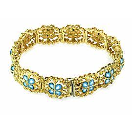 Vintage Blue White Enamel 13mm Wide Floral 18k Yellow Gold Link Bracelet