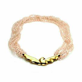 Tiffany & Co. Picasso Vintage 18k Gold Bird Pendant Rose Quartz Beaded Necklace