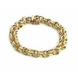 "Double Ring 14k Yellow Gold Links Charm Bracelet 8"" Long"