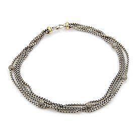 David Yurman 1.00ct Diamonds Sterling & 18k Gold Multi-Strand Box Chain Necklace