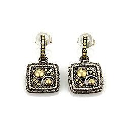 John Hardy Palu Hoop Square Shape 22k Gold & Sterling Silver Dangle Earrings