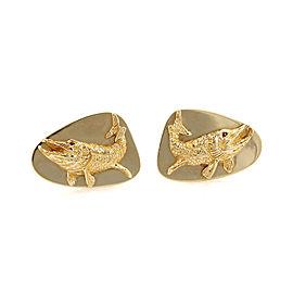 Vintage Tiffany & Co. Ruby 14k Yellow Gold Fish Stud Cufflinks