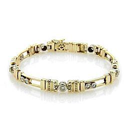 1.75ct Diamonds 14k Two Tone Gold Open Slide Bar Bracelet