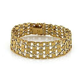 Wide Geometric Flex 18k Two Tone Gold Bracelet