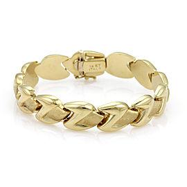 14k Yellow Gold Fancy Z Shape Textured Link Bracelet