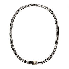 John Hardy Sterling Silver 18k Yellow Gold 6mm Dotts Weave Chain Necklace