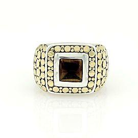 John Hardy 18k Yellow Gold Sterling Silver & Onyx Square Shape Dot Ring