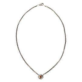 David Yurman Citrine Sterling 14k Yellow Gold Round Cable Pendant & Chain