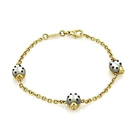Chopard Mother of Pearl & Onyx 3 Ladybug Charms Chain 18k Gold Bracelet