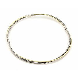 David Yurman 18k Yellow Gold 925 Silver 3 Station Double Row Cable Necklace