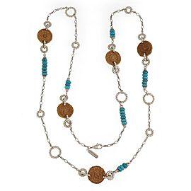 John Hardy Turquoise Basket Wicker Motif Sterling Silver Long Chain