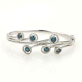 3 Carat Blue & White Diamonds 14k White Gold Floral Bangle Bracelet