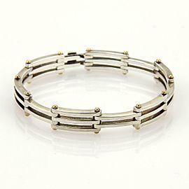 Tiffany & Co. Gatelink 925 Silver 18k Yellow Gold Section Link Bracelet