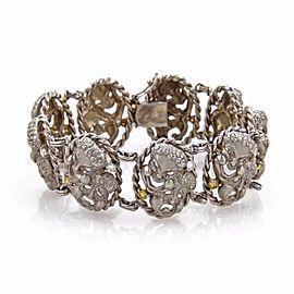 1ct Diamond & Yellow 14k White Gold Happy Sad Face Link Bracelet