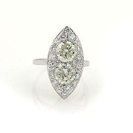 Vintage 3.85ct Diamonds 14k White Gold 2 Solitaires Ladies Cocktail Ring